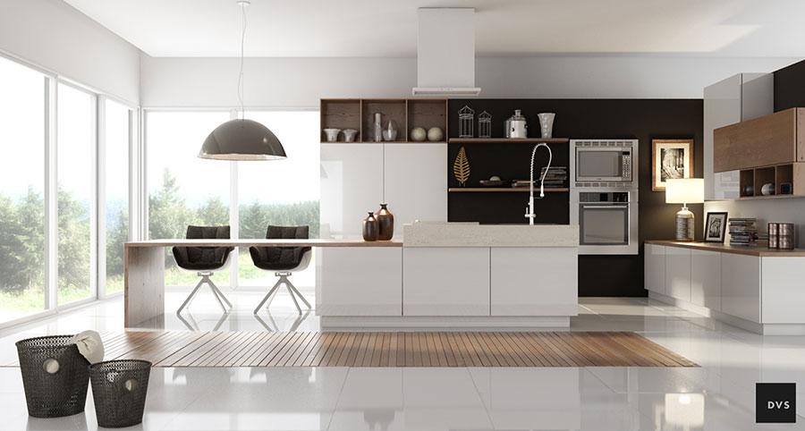 Modello di cucina con isola e tavolo accostato n.04