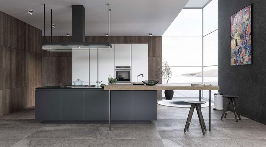 Modello di cucina con isola e tavolo accostato n.05