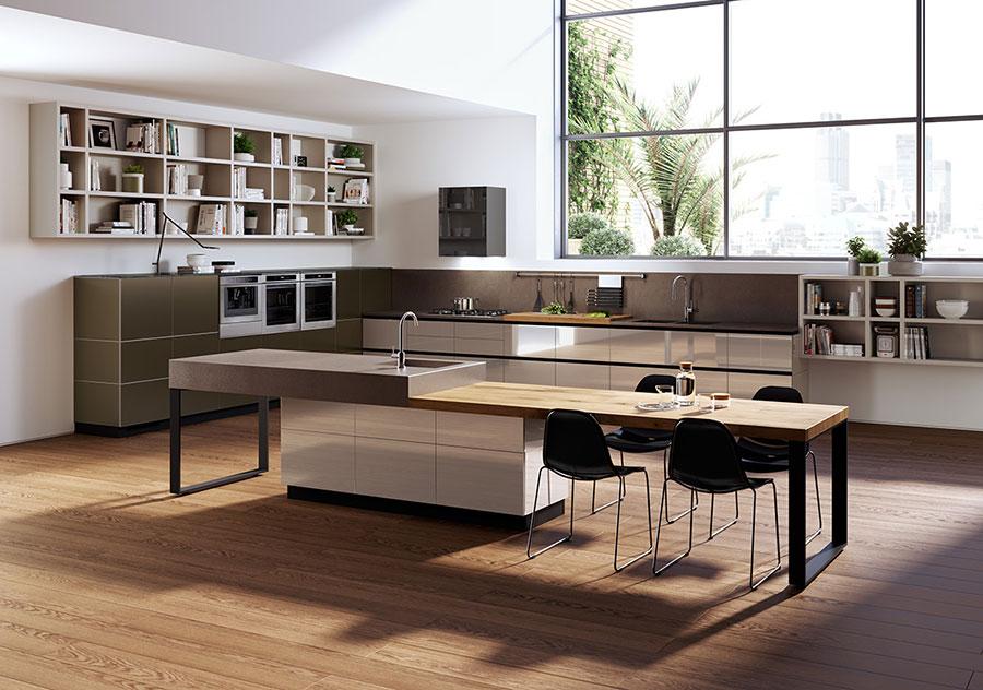 Modello di cucina con isola e tavolo accostato n.06