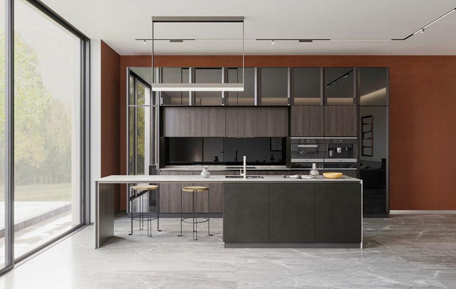 Modello di cucina con isola e tavolo accostato n.07