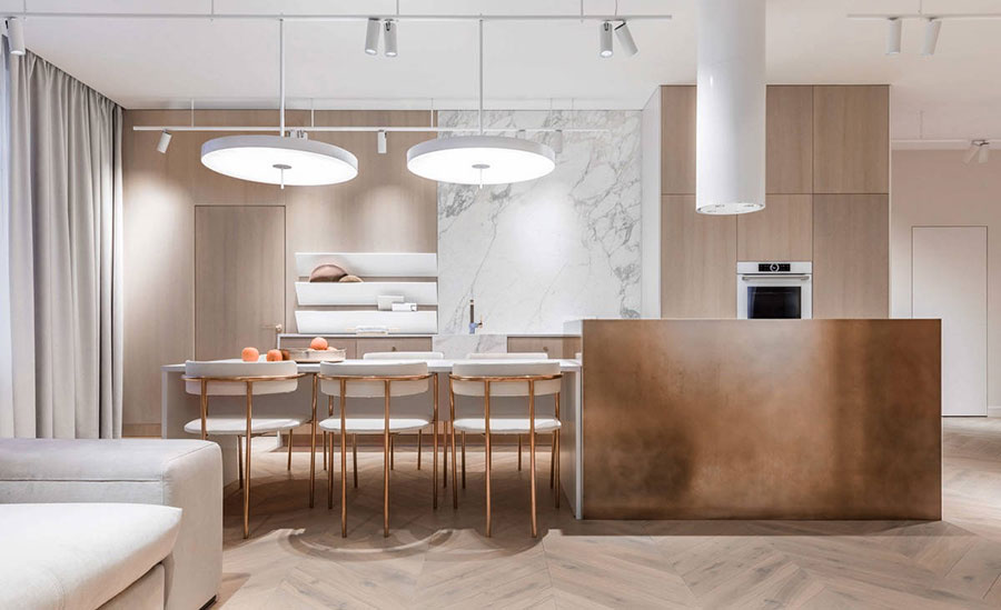 Modello di cucina con isola e tavolo accostato n.08