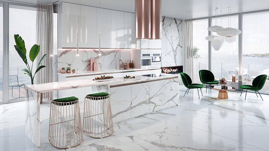Modello di cucina con isola e tavolo accostato n.09