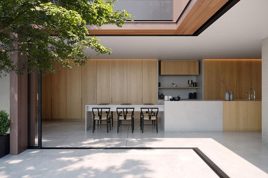 Modello di cucina con isola e tavolo accostato n.10