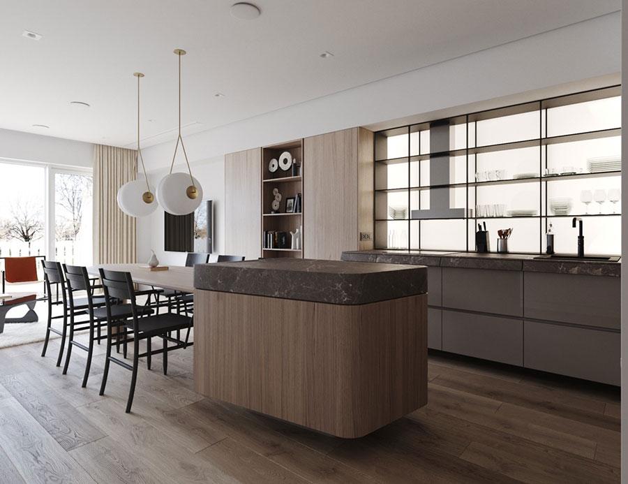 Modello di cucina con isola e tavolo accostato n.12