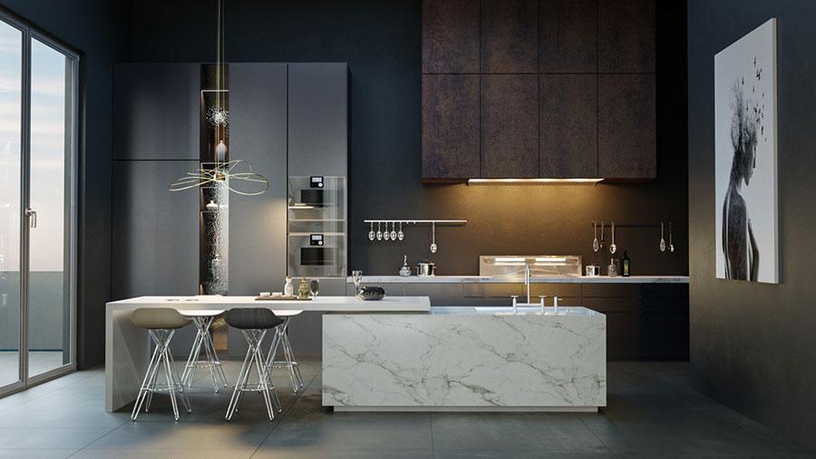 Modello di cucina con isola e tavolo accostato n.15