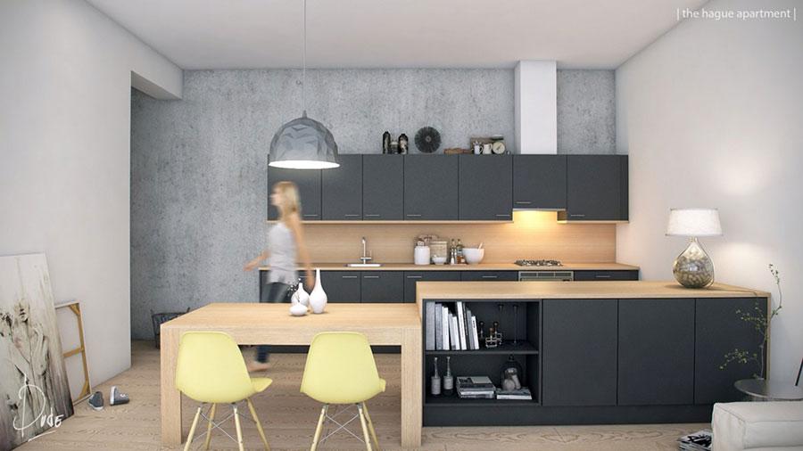 Modello di cucina con isola e tavolo accostato n.19