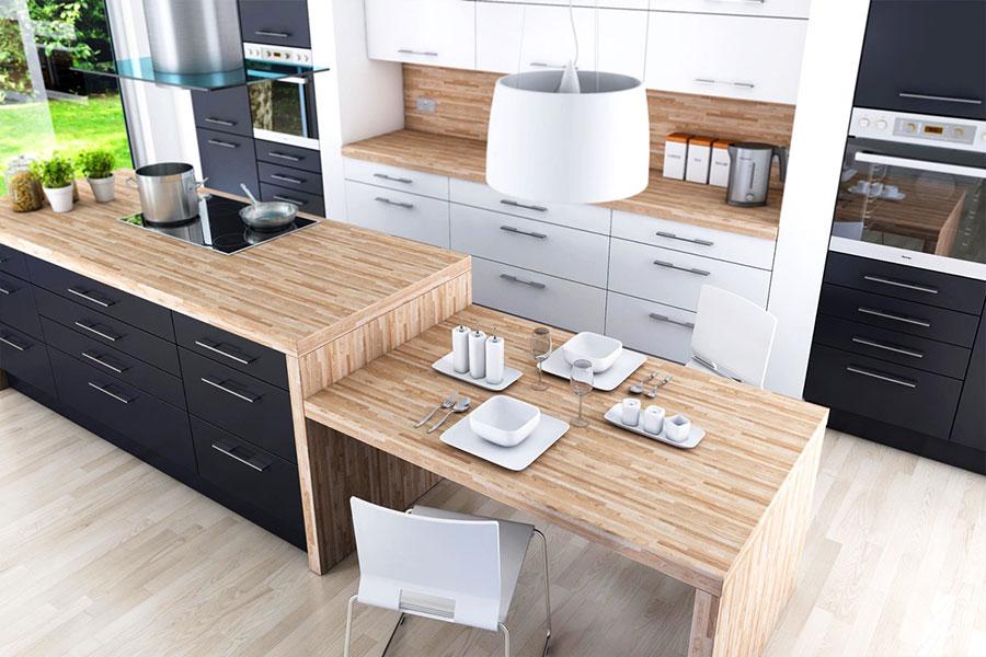Modello di cucina con isola e tavolo accostato n.20