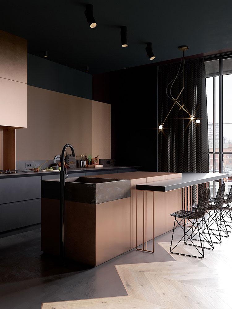Modello di cucina con isola e tavolo accostato n.21