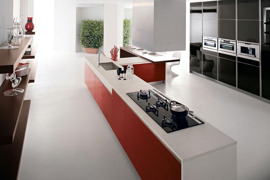 Modello di cucina con isola e tavolo accostato n.24