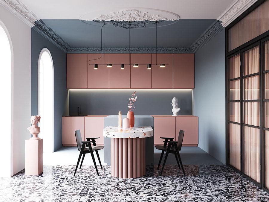 Modello di cucina con isola e tavolo accostato n.25