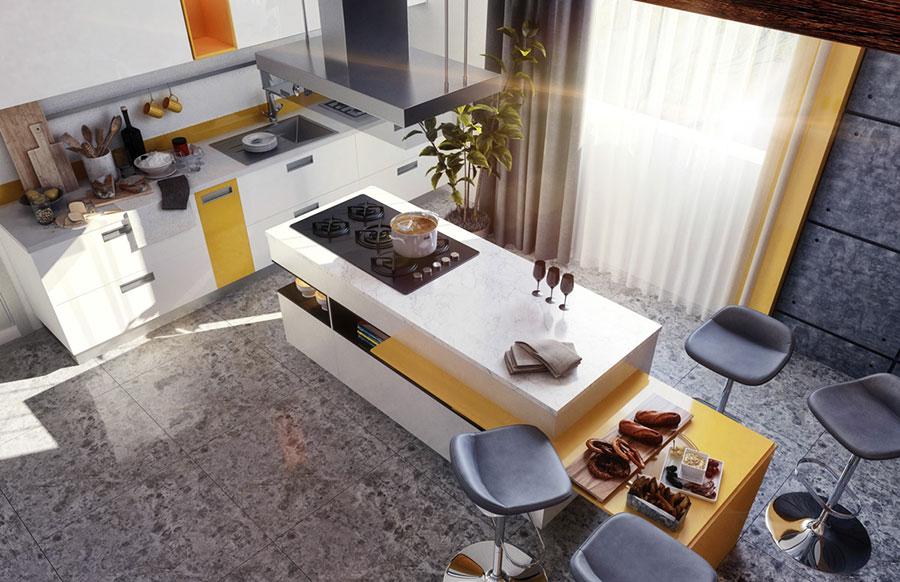 Modello di cucina con isola e tavolo accostato n.26