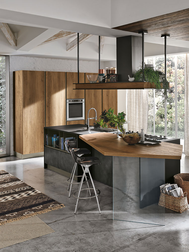 Modello di cucina con isola e tavolo accostato n.34