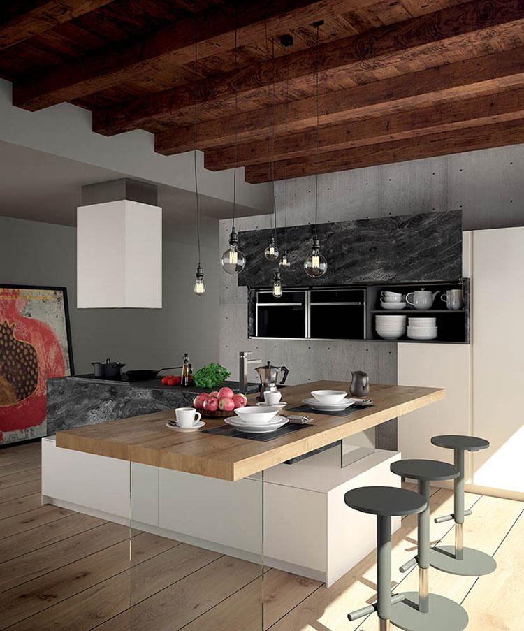 Modello di cucina con isola e tavolo accostato n.35