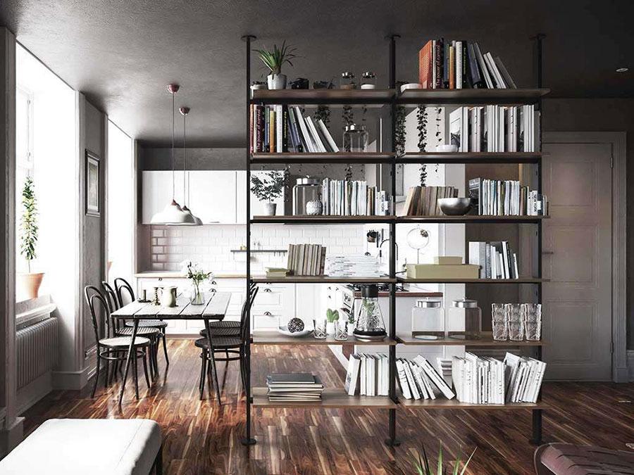 Libreria bifacciale tra cucina e living n.04