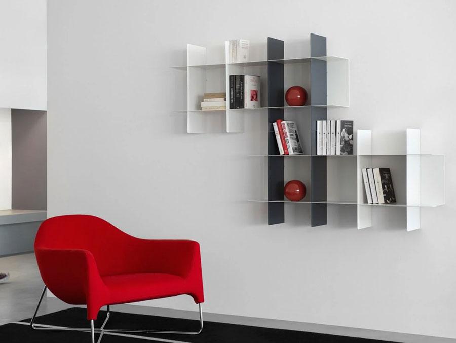 Modello di libreria a parete sospesa n.03