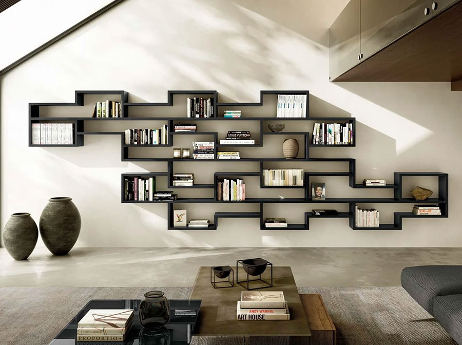 Modello di libreria a parete sospesa n.08