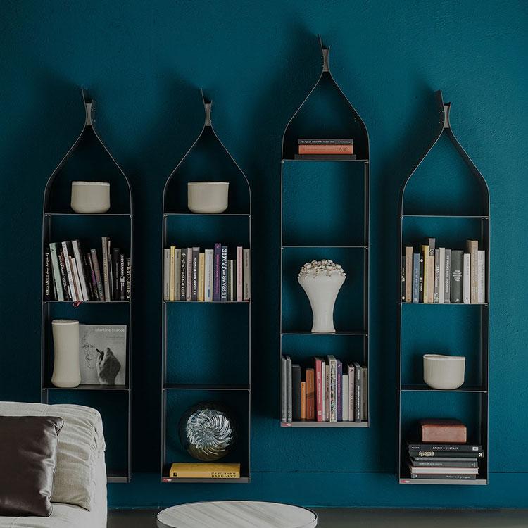 Modello di libreria a parete sospesa n.10