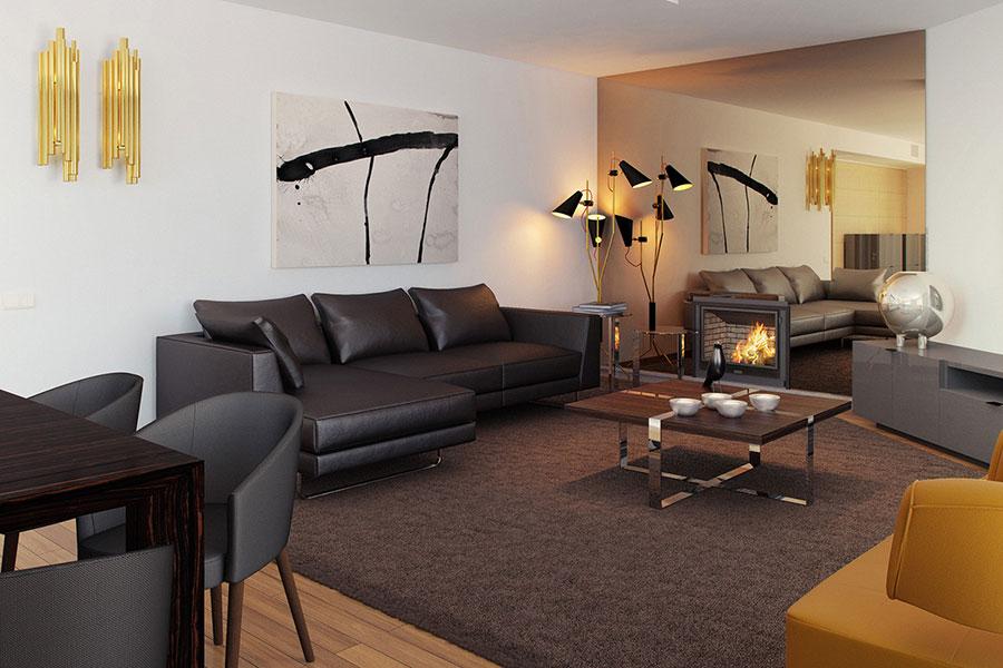 Idee per quadri astratti in un soggiorno classico moderno n.02