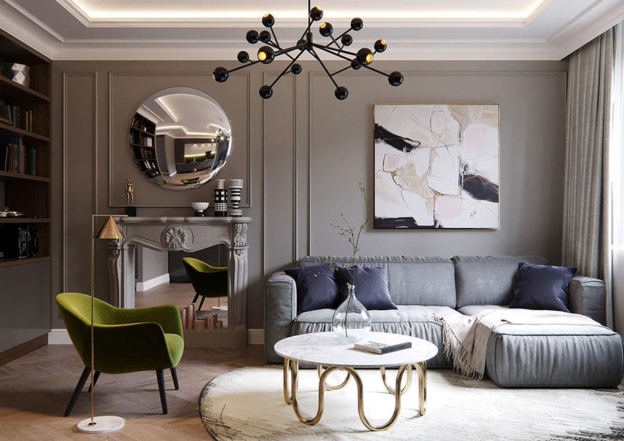 Idee per quadri astratti in un soggiorno classico moderno n.03