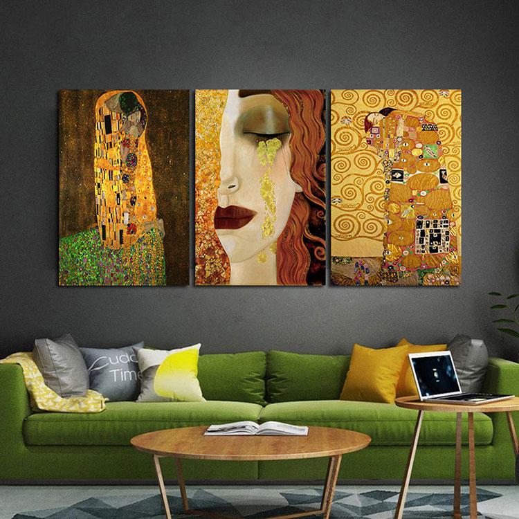 Idee per quadri famosi in un soggiorno classico moderno n.03