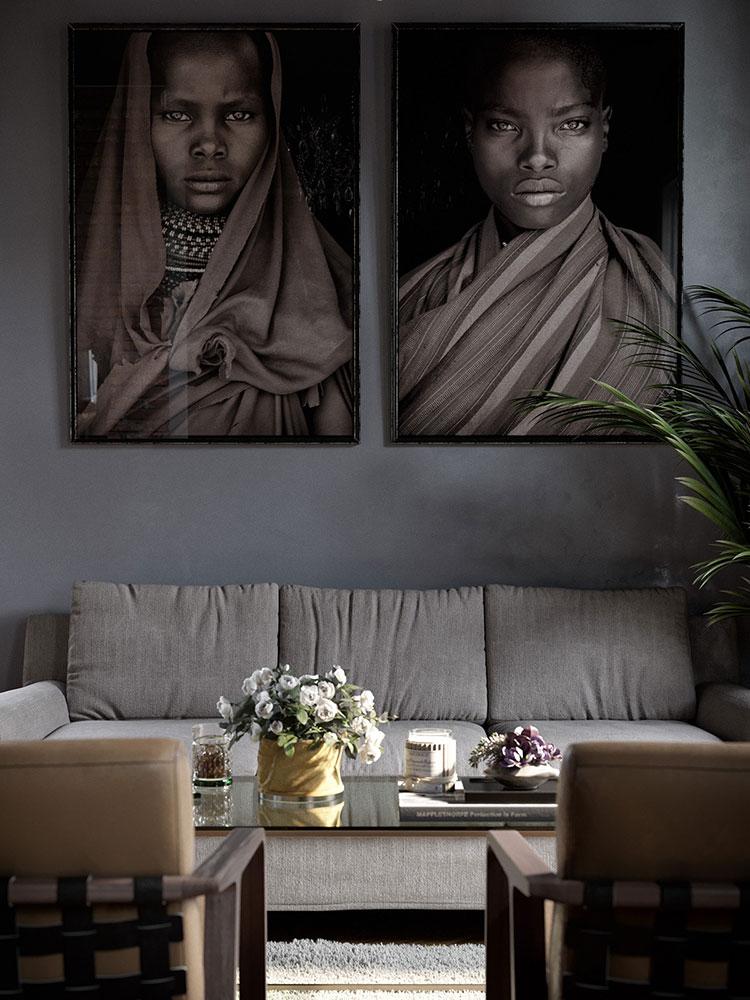 Idee per quadri con ritratti in un soggiorno classico moderno n.01