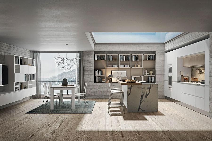Progetto per cucina con isola e tavolo separato n.05