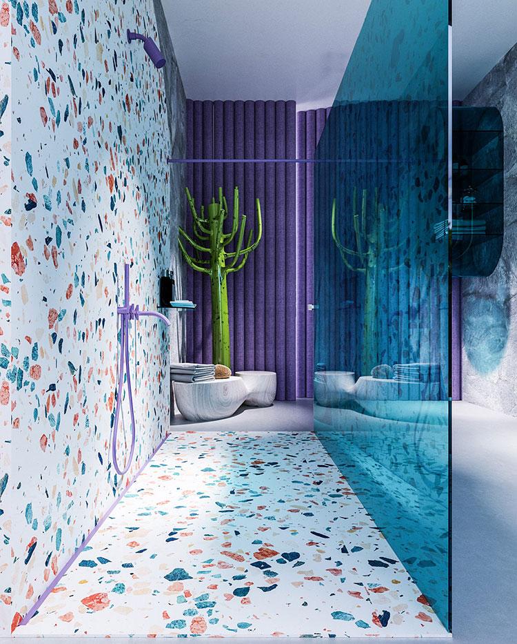 Idee per un bagno con pareti colorate particolari n.01