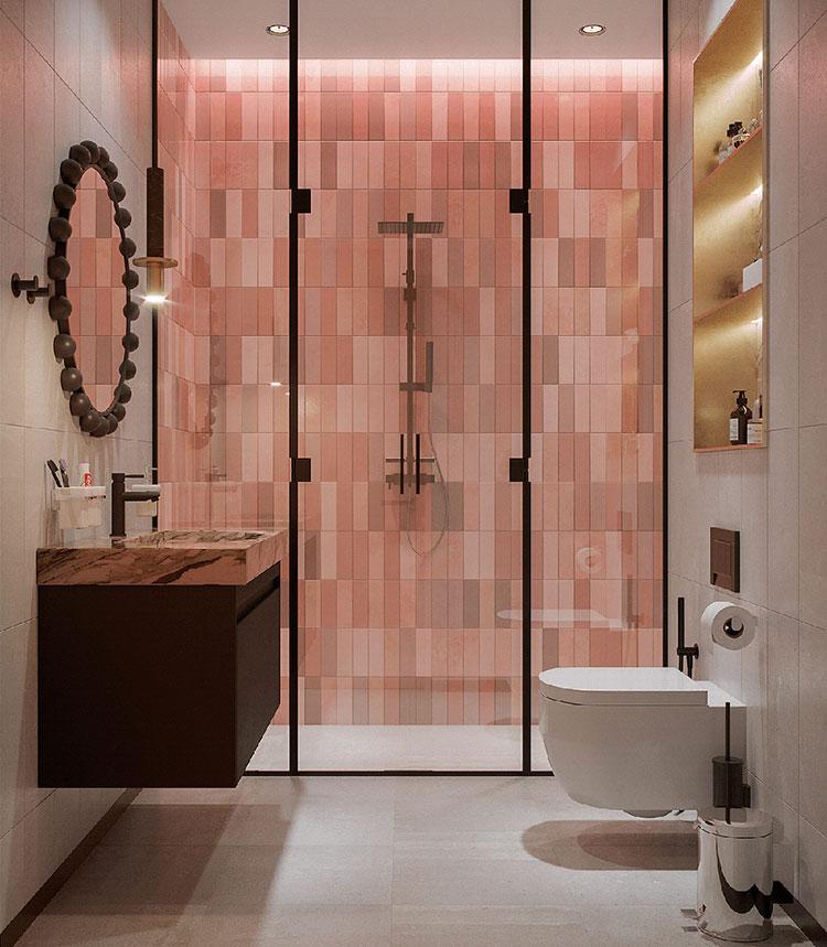 Idee per un bagno con pareti colorate particolari n.02