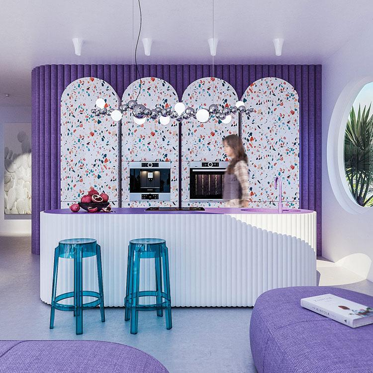 Idee per una cucina con pareti colorate particolari n.01