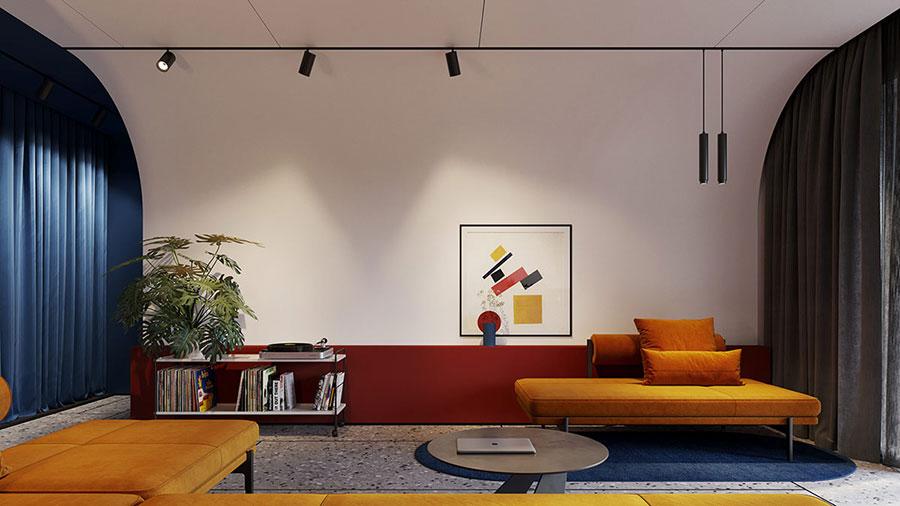 Idee per pareti colorate particolari con fascia n.01
