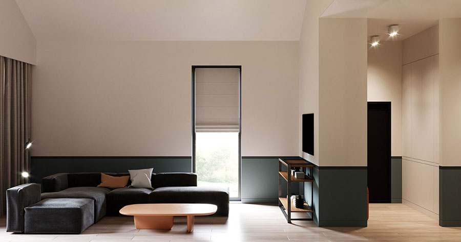 Idee per pareti colorate particolari con fascia n.02