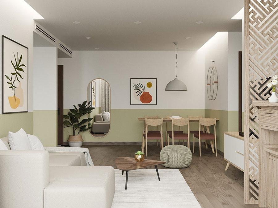 Idee per pareti colorate particolari con fascia n.04