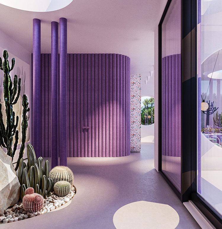 Idee per un ingresso con pareti colorate particolari n.01