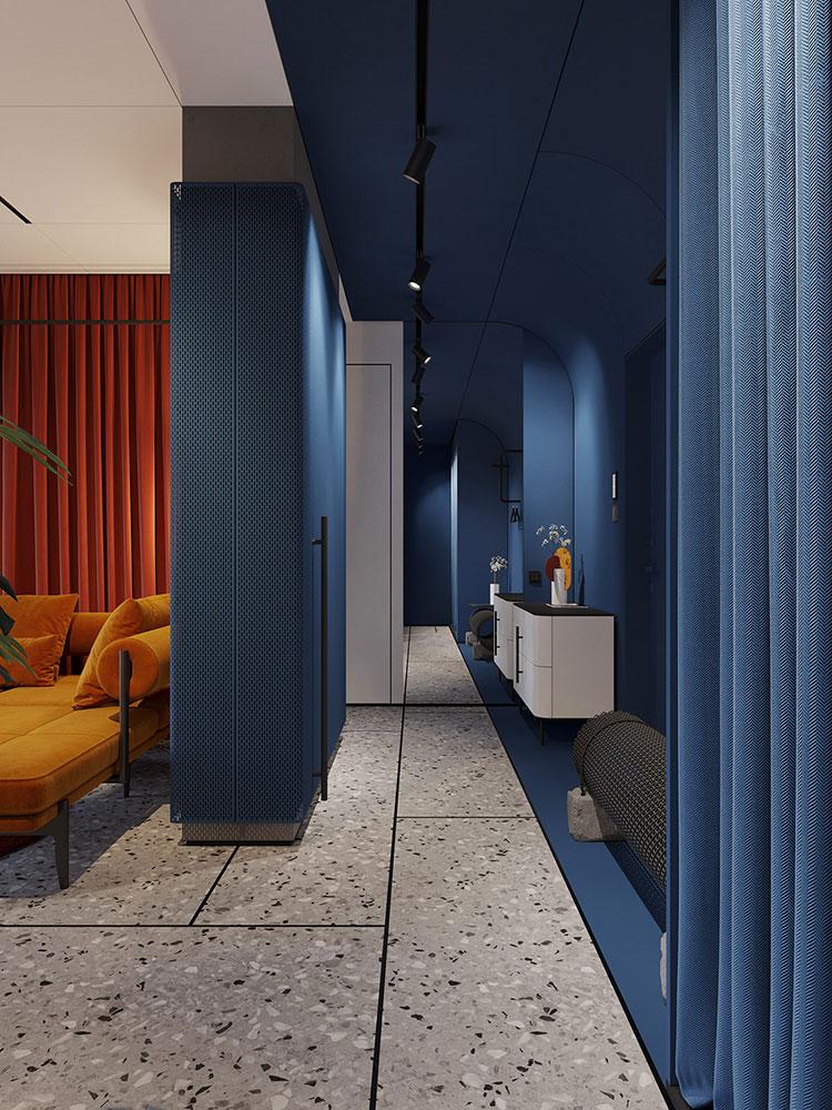 Idee per un ingresso con pareti colorate particolari n.02