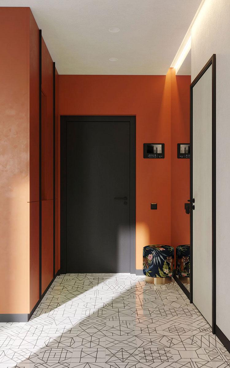 Idee per un ingresso con pareti colorate particolari n.05