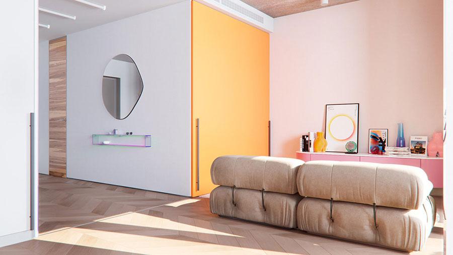 Idee per un soggiorno con pareti colorate particolari n.02
