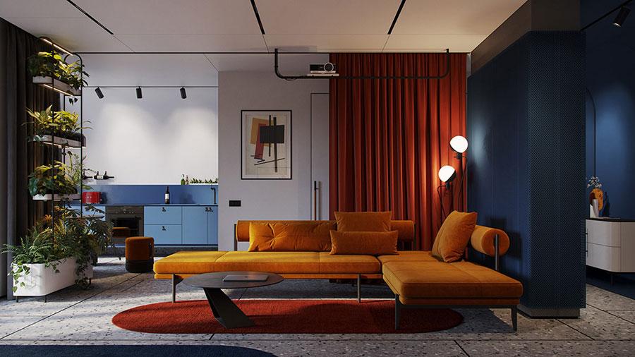 Idee per un soggiorno con pareti colorate particolari n.03