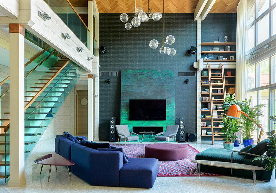 Idee per un soggiorno con pareti colorate particolari n.04