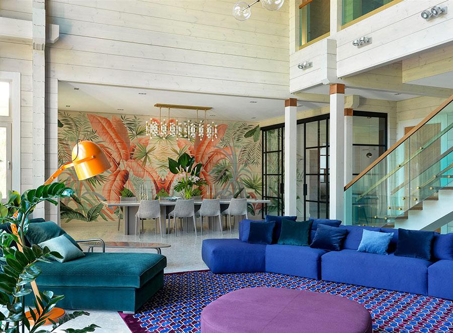 Idee per un soggiorno con pareti colorate particolari n.05