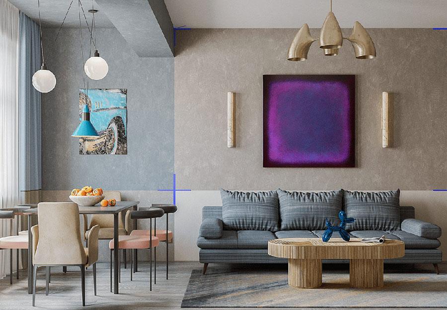 Idee per un soggiorno con pareti colorate particolari n.06