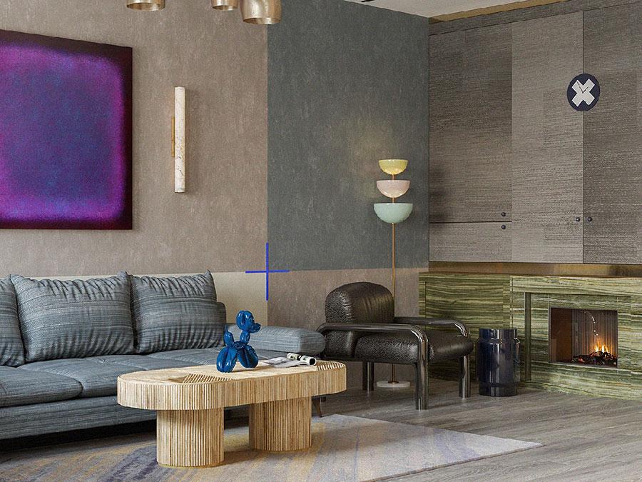Idee per un soggiorno con pareti colorate particolari n.07