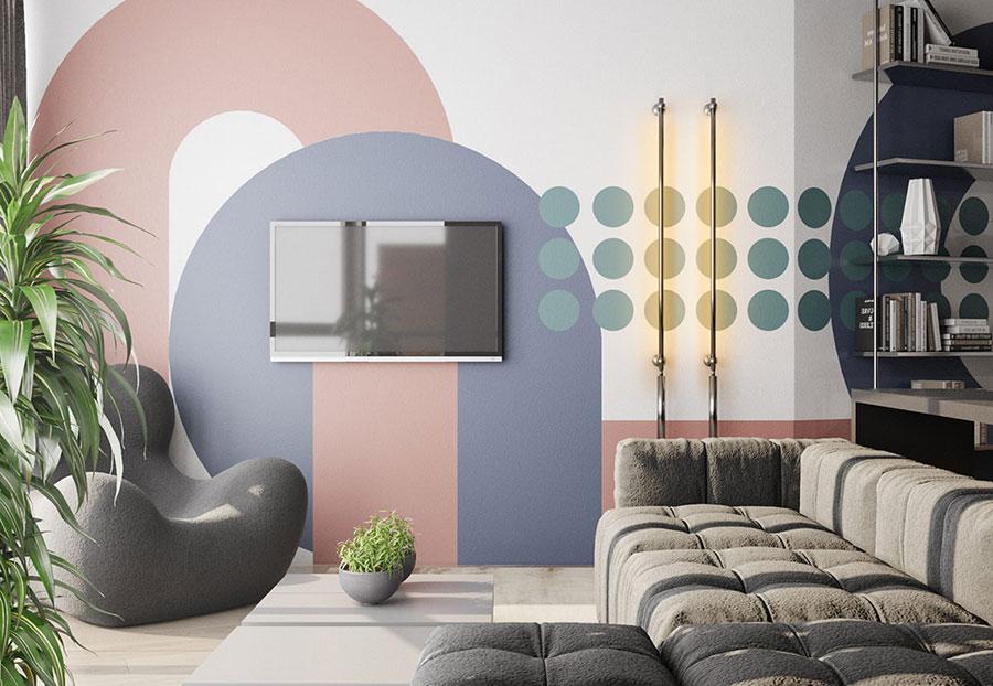 Idee per un soggiorno con pareti colorate particolari n.08