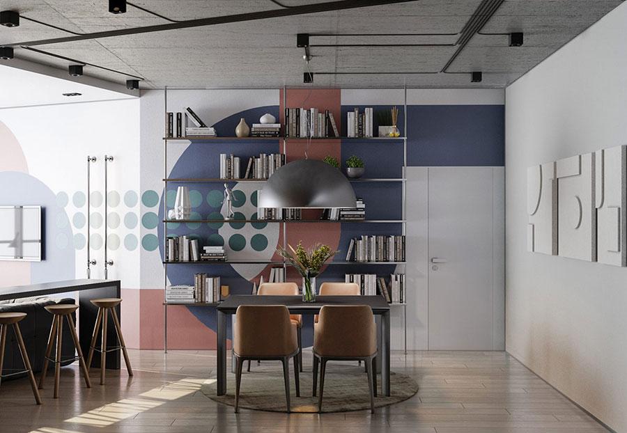 Idee per un soggiorno con pareti colorate particolari n.09