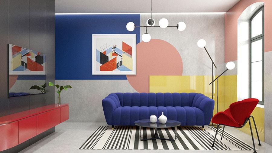 Idee per un soggiorno con pareti colorate particolari n.10