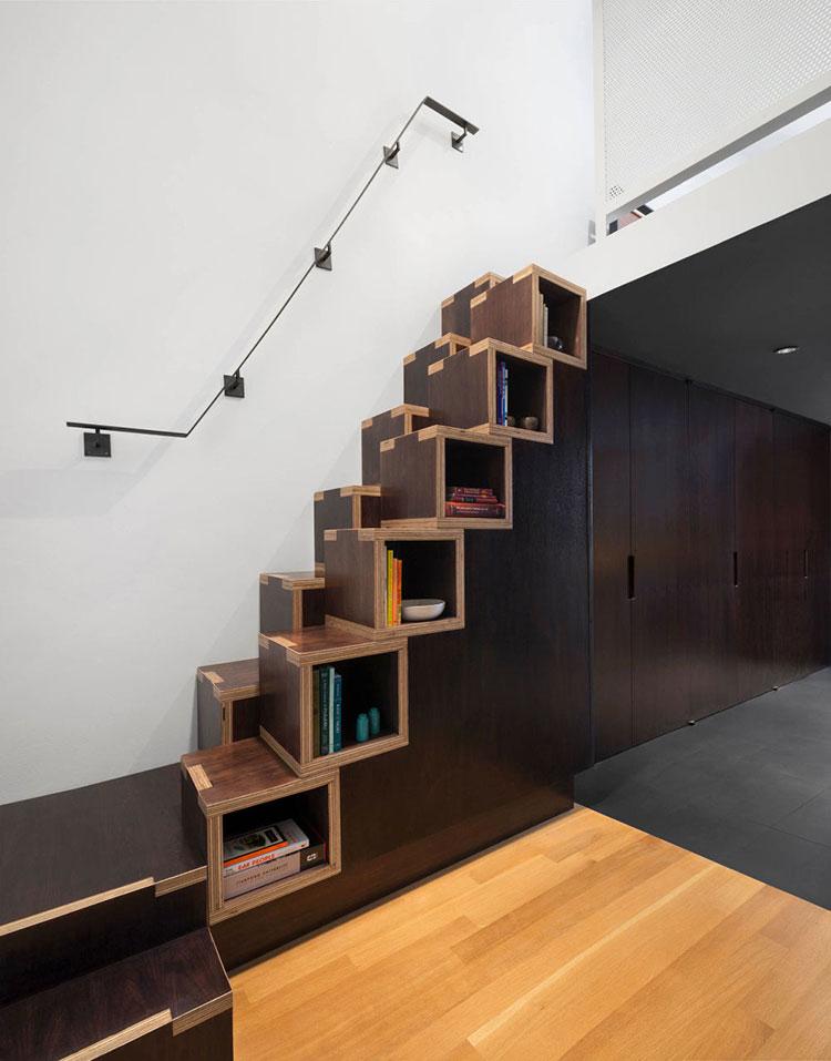 Idee per una scala con libreria integrata n.05