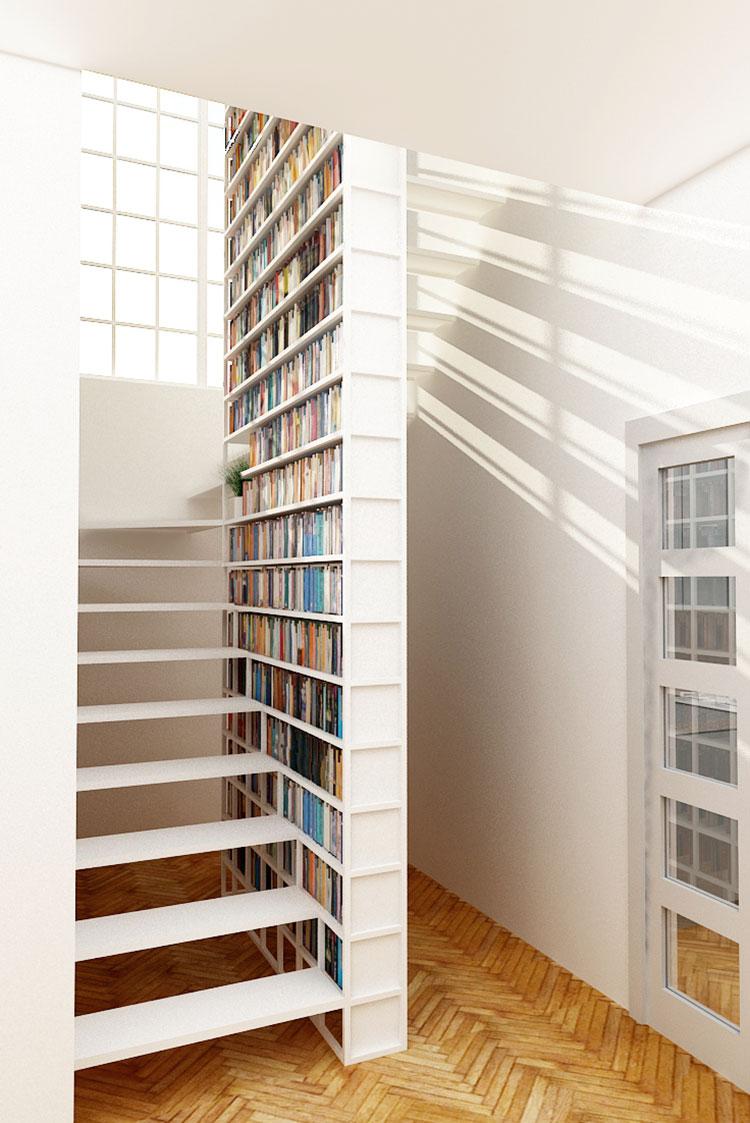 Idee per una scala con libreria integrata n.13