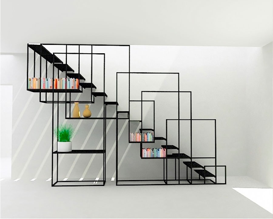 Idee per una scala con libreria integrata n.20
