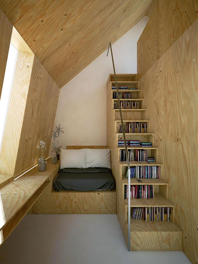 Idee per una scala con libreria integrata n.21