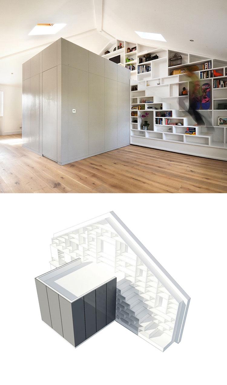 Idee per una scala con libreria integrata n.25