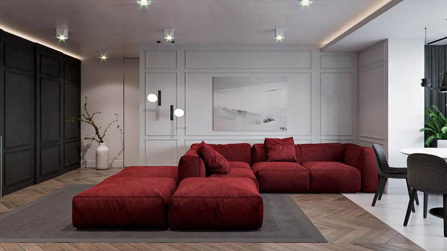 Idee per abbinare il divano rosso alle pareti bianche n.01